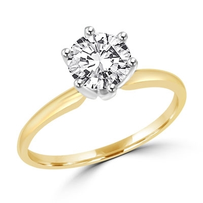 Solitaire ring with 2 carat stone gold vermeil