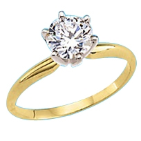 Solitaire ring with 3 carat stone gold vermeil