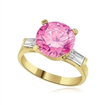 Pink stone of 3.5 ring in gold vermeil