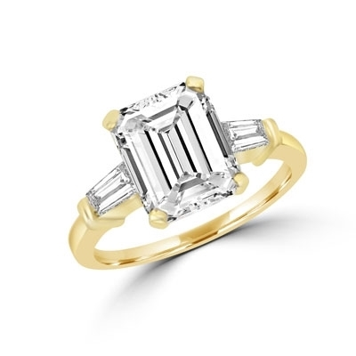 ring with 4ct emerald-cut diamond and baguettes on sides