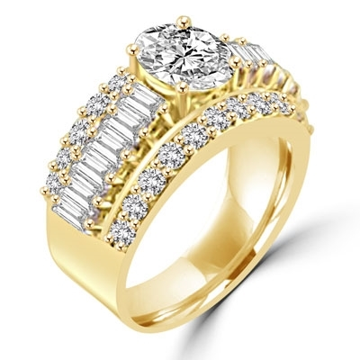 Virgo - Cool Cocktail Ring with large masterpieces enhanced by smaller accent baguettes and round accents, 4.5 Cts. T.W, in Gold Vermeil.