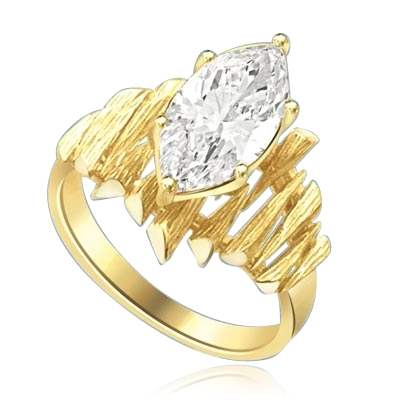 bamboo ring with marquise diamond and Gold Vermeil spike