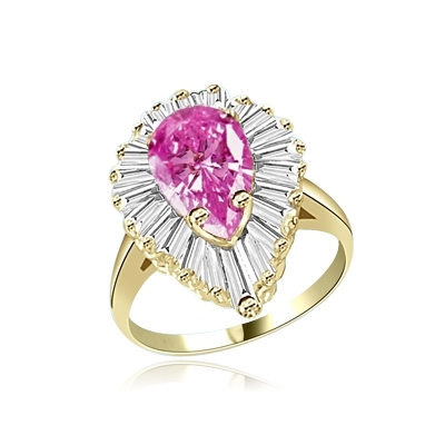 Ballerina Ring- 3.0 Cts Pink Pear Gold Vermeil ring