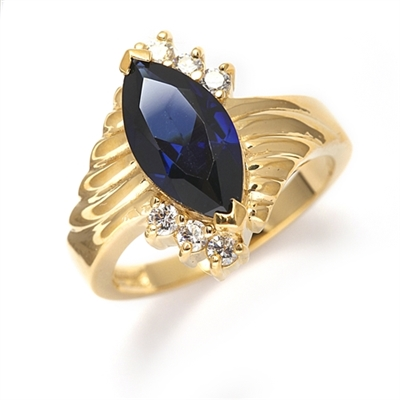 Blue Moon - A must have Ring, 2.30 Cts. T.w, with 2 Carat Marquise Cut Sapphire Essence Center Stone and 0.30 Diamond Essence Accents, in Gold Vermeil.