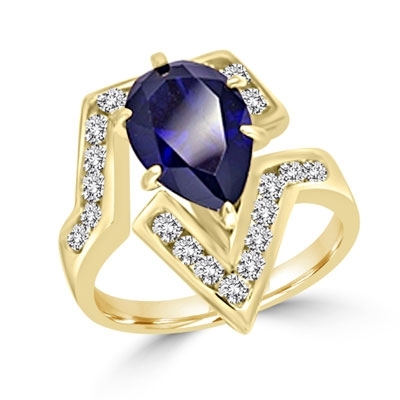 Lulu - Move Forward with  this superb Ring, 3.0 Carats in all, with 2.0 Carat Pear Cut Sapphire Essence Center Stone and Melee Accents  set in Gold Vermeil.