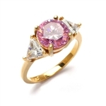 Risque- Diamond Essence Ring with 2 Carat Round Cut Pink Essence in Center and 0.5 Ct. Each trilliant cut side accents.set in 14K Gold Vermeil.