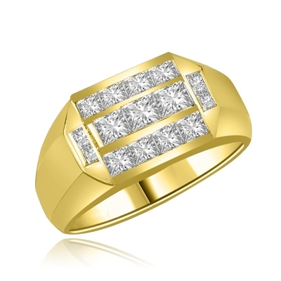 Man's Ring 1.0 Diamond Essence Radiant Sqaure Center Stones and 0.70 Carat Princess Stones in around them set in Gold Vermeil.