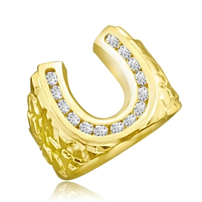 Fall in love with this charming horseshoe design ring with 0.75 Cts. Diamond Essence nuggets set in artistic band set in 14K Gold Vermeil.