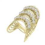 Diamond Essence Designer Ring With Three Curved Rows Of Round Brilliant Stones, 3 Cts.T.W. In 14K Gold Vermeil.