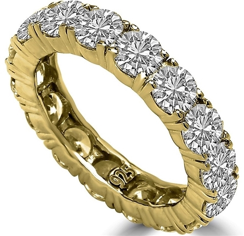 Diamond Essence Eternity Ring, With 4 Cts.T.W. Round Brilliant Stones In 14K Gold Vermeil.