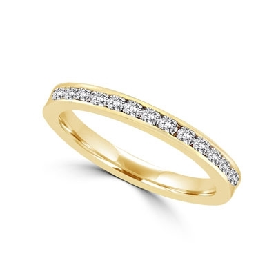 Diamond Essence Eternity band in 14K Gold Vermeil channel-setting. 1.0 ct.t.w. (Also available in 14K Solid Gold, Item#GRD130).