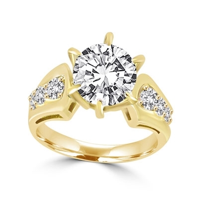 A beautiful engagement ring, Diamond Essence round brilliant stone of 2.0 carat set in six prongs and curved shank with beautiful round melees. 2.5 ct.t.w. set in 14K Gold Vermeil.