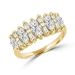 Wedding band with Marquise Cut and Baguette beauties, 2.25 Cts. T.W. in Gold Vermeil