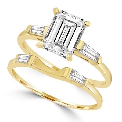 abb8294c41cdea 14K Gold Vermeil wedding set. 1.5 carat diamond essence emerald cut ...