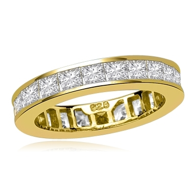 Timeless Eternity Band with Channel set Princess Cut Diamond Essence stones, 1.25 Cts.T.W. set in 14K Gold Vermeil.