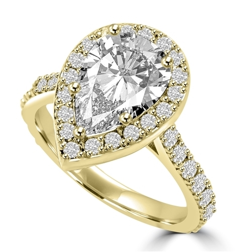 Diamond Essence Halo Setting Designer Ring With 3 Cts. Pear Center and Melee around And On The Band, 5.50 Cts.T.W. In Platinum Plated Sterling Silver.