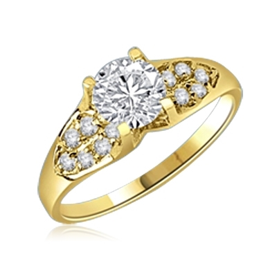 Diamond Essence Designer Ring with 1.0 Ct. Round Brilliant Stone in center accompanied by glittering Melee on sides, 1.50 Cts.T.W. set in 14K Gold Vemeil.