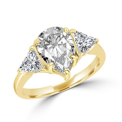Duse - Ring with Pear Cut Center Stone flanked by Brilliant Trilliant Cut Diamond Essence accents, 3.0 Cts. T.W, in Gold Vermeil.