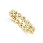 Camelot - Superb Wedding Band, 1.1 Cts. Round Brilliants intrinsicly set in curvy channels, in Gold Vermeil.