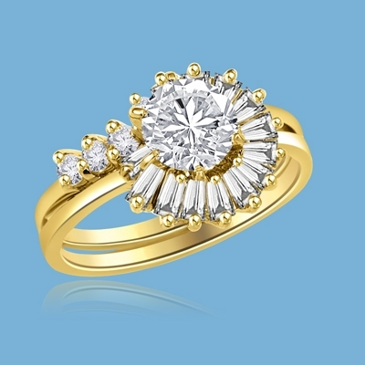 Pelleas and Melisande - Magnificent Wedding Set, 2.2 Cts. T.W, with 1 Ct. Center Stone with Baguette and Round Accent Masterpieces encircling in love of life! In Gold Vermeil.