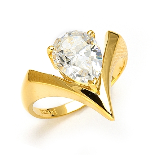 Diamond Essence Ring with 2.0 ct. Pear cut stone,in Gold Vermeil.