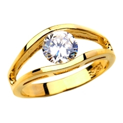 Subtle and strong Friendship Ring, 1.0 Ct. T.W with a delicate Round Solitaire nestled in stylish split shank of 14K Gold Vermeil.