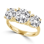 Gold Vermeil Ring–3 stone,2 ct center,1 ct on sides
