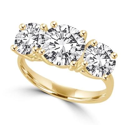 ce8bc72a3010 Three stone ring. Diamond Essence 2.0 carat round brillant stone in ...