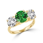 Ring – round emerald stone, round brilliant side stones