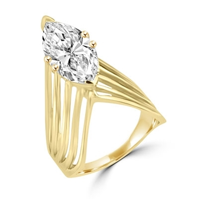3.5 ct marquise diamond in 6 prongs in gold vermeil ring