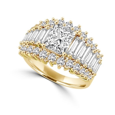 Gold Vermeil ring, 3.0 cts.t.w. with 2.0 cts. emerald cut radiant center with baguettes and round radiating stones.