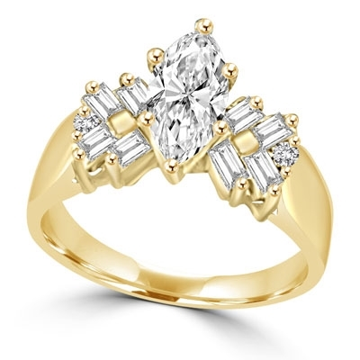 Glowing Ring with 1 Ct. Marquise Center and Baguette accents, 2 Cts. T.W, in Gold Vermeil.