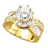 Diamond Essence Designer Ring With 2 Cts. Round Brilliant Set In Six Prongs And Brilliant Channel Set Baguettes And Melee On The Band In 14K Gold Vermeil, 4 Cts.T.W.