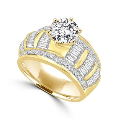 2 ct round stone,princess cut stones,baguettes in gold vermeil ring