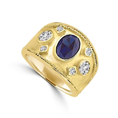14K Gold Vermeil European ring, with a 1.5 cts. oval cut Sapphire Essence center stone and round cut accents.