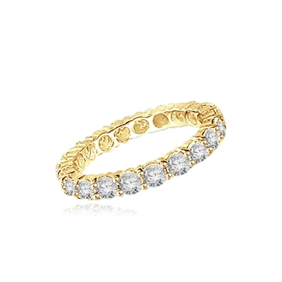 eternity band with round stone in gold vermeil