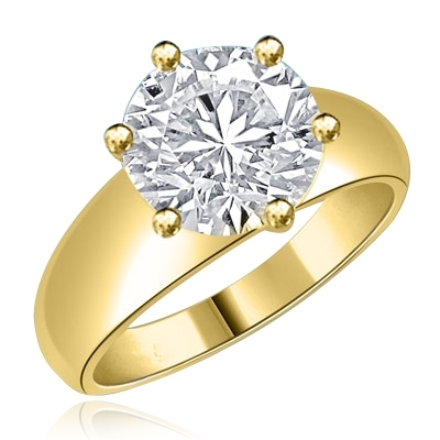 Brilliant 3.5 ct. Diamond Essence solitaire on a wide band Gold Vermeil.
