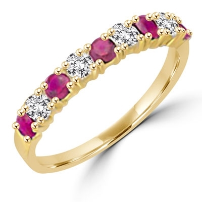 Simple but elegant, this 14K Gold Vermeil ring with Diamond Essence round brilliant stones and ruby stones. 1.2 cts.t.w. (Also available in 14K Solid Gold, Item#GRD186).