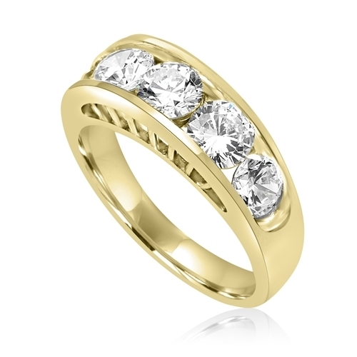 Diamond Essence Five Stones Ring, With Round Brilliant Stones In Graduating Size, 1.80 Cts.T.W. In 14K Gold Vermeil.
