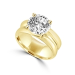 wide band solitaire gold vermeil ring