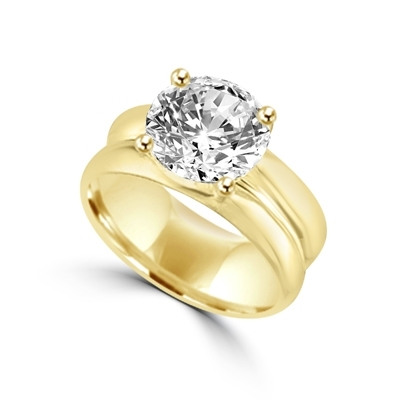 Wide band solitaire ring 2 5 ct round brilliant stone set in 14K