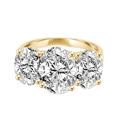 Three Stone Jaw dropping Ring -Diamond Essence 4.0 Carat Oval Stone in the Center and 2.0 Carat Oval Stones on each sides, 8.0 cts. t.w. in 14K Gold Vermeil.