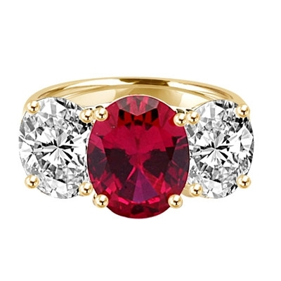Three stone Jaw dropping oval Ruby stone ring