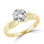 1 ct round stone with 6 prongs in gold vermeil ring