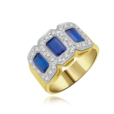 triplet ring with 3 Sapphire stones gold vermeil