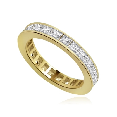 channel set princess diamond band in gold vermiel