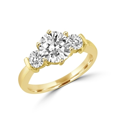 14K Gold Vermeil ring features a 2.0 ct. round cut Diamond Essence centerpiece rubbing elbows with two 0.3 round cut masterpices beside it. 2.6 cts. T.W. Breeding shows.