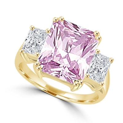 Pink Essence emerald-cut 8 carat Pink stone set in 14K Gold Vermeil with side baguettes. 8.5 cts. T.W.