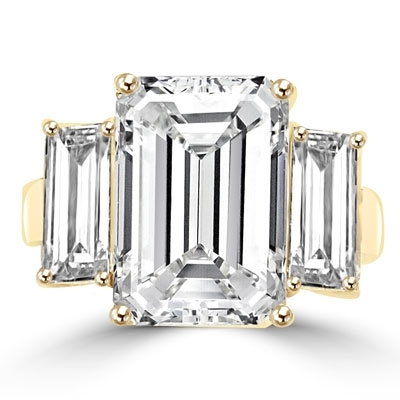 8 ct emerald cut diamond with side stones in gold vermeil ring