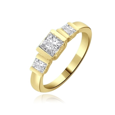 Cool & Trendy band with three princess cut Diamond ring in gold vermeil